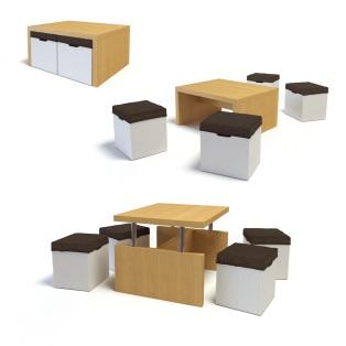 Höj- och sänkbart bord med pallar